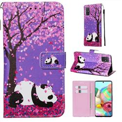 Cherry Blossom Panda Matte Leather Wallet Phone Case for Samsung Galaxy A71 4G