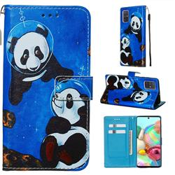 Undersea Panda Matte Leather Wallet Phone Case for Samsung Galaxy A71 4G
