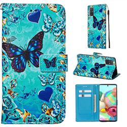 Love Butterfly Matte Leather Wallet Phone Case for Samsung Galaxy A71 4G