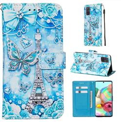 Tower Butterfly Matte Leather Wallet Phone Case for Samsung Galaxy A71 4G