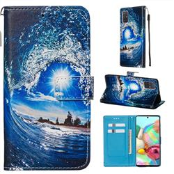 Waves and Sun Matte Leather Wallet Phone Case for Samsung Galaxy A71 4G