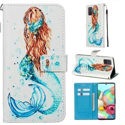 Mermaid Matte Leather Wallet Phone Case for Samsung Galaxy A71 4G