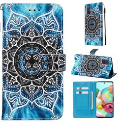 Underwater Mandala Matte Leather Wallet Phone Case for Samsung Galaxy A71 4G