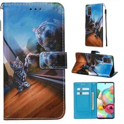 Mirror Cat Matte Leather Wallet Phone Case for Samsung Galaxy A71 4G