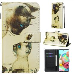 Cat Confrontation Matte Leather Wallet Phone Case for Samsung Galaxy A71 4G