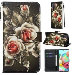 Black Rose Matte Leather Wallet Phone Case for Samsung Galaxy A71 4G