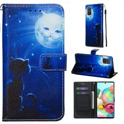 Cat and Moon Matte Leather Wallet Phone Case for Samsung Galaxy A71 4G