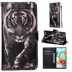 Black and White Tiger Matte Leather Wallet Phone Case for Samsung Galaxy A71 4G