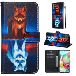 Water Fox Matte Leather Wallet Phone Case for Samsung Galaxy A71 4G