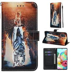 Cat and Tiger Matte Leather Wallet Phone Case for Samsung Galaxy A71 4G