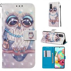 Sweet Gray Owl 3D Painted Leather Wallet Case for Samsung Galaxy A71 4G