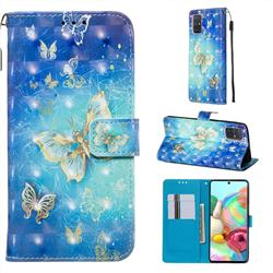 Gold Butterfly 3D Painted Leather Wallet Case for Samsung Galaxy A71 4G