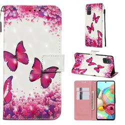 Rose Butterfly 3D Painted Leather Wallet Case for Samsung Galaxy A71 4G