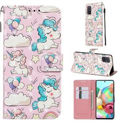 Angel Pony 3D Painted Leather Wallet Case for Samsung Galaxy A71 4G
