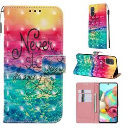 Colorful Dream Catcher 3D Painted Leather Wallet Case for Samsung Galaxy A71 4G