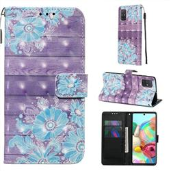 Blue Flower 3D Painted Leather Wallet Case for Samsung Galaxy A71 4G