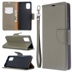 Classic Luxury Litchi Leather Phone Wallet Case for Samsung Galaxy A71 4G - Gray