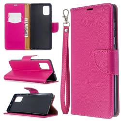 Classic Luxury Litchi Leather Phone Wallet Case for Samsung Galaxy A71 4G - Rose