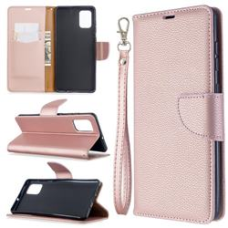 Classic Luxury Litchi Leather Phone Wallet Case for Samsung Galaxy A71 4G - Golden