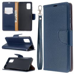 Classic Luxury Litchi Leather Phone Wallet Case for Samsung Galaxy A71 4G - Blue