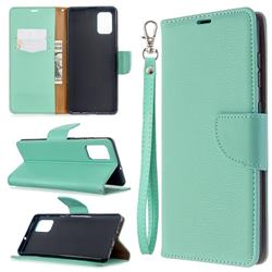 Classic Luxury Litchi Leather Phone Wallet Case for Samsung Galaxy A71 4G - Green