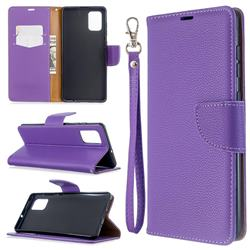 Classic Luxury Litchi Leather Phone Wallet Case for Samsung Galaxy A71 4G - Purple