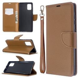Classic Luxury Litchi Leather Phone Wallet Case for Samsung Galaxy A71 4G - Brown