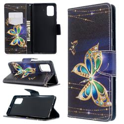 Golden Shining Butterfly Leather Wallet Case for Samsung Galaxy A71 4G