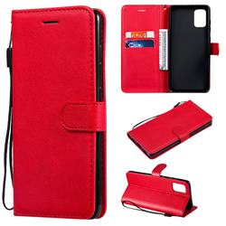 Retro Greek Classic Smooth PU Leather Wallet Phone Case for Samsung Galaxy A71 4G - Red
