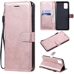Retro Greek Classic Smooth PU Leather Wallet Phone Case for Samsung Galaxy A71 4G - Rose Gold