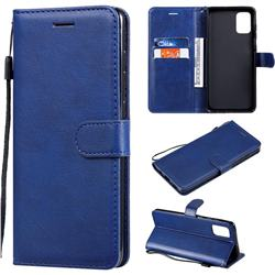 Retro Greek Classic Smooth PU Leather Wallet Phone Case for Samsung Galaxy A71 4G - Blue