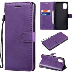 Retro Greek Classic Smooth PU Leather Wallet Phone Case for Samsung Galaxy A71 4G - Purple