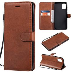 Retro Greek Classic Smooth PU Leather Wallet Phone Case for Samsung Galaxy A71 4G - Brown