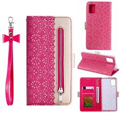 Luxury Lace Zipper Stitching Leather Phone Wallet Case for Samsung Galaxy A71 4G - Rose