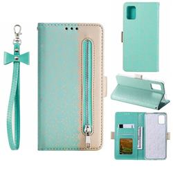 Luxury Lace Zipper Stitching Leather Phone Wallet Case for Samsung Galaxy A71 - Green