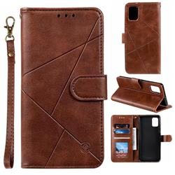 Embossing Geometric Leather Wallet Case for Samsung Galaxy A71 - Brown