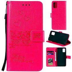 Embossing Owl Couple Flower Leather Wallet Case for Samsung Galaxy A71 - Red