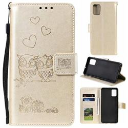 Embossing Owl Couple Flower Leather Wallet Case for Samsung Galaxy A71 - Golden