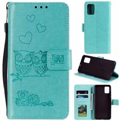 Embossing Owl Couple Flower Leather Wallet Case for Samsung Galaxy A71 - Green