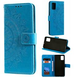 Intricate Embossing Datura Leather Wallet Case for Samsung Galaxy A71 4G - Blue