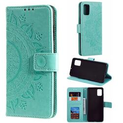 Intricate Embossing Datura Leather Wallet Case for Samsung Galaxy A71 - Mint Green