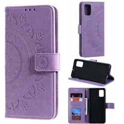 Intricate Embossing Datura Leather Wallet Case for Samsung Galaxy A71 - Purple