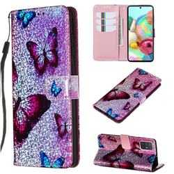Blue Butterfly Sequins Painted Leather Wallet Case for Samsung Galaxy A71 4G