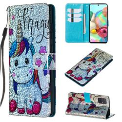 Star Unicorn Sequins Painted Leather Wallet Case for Samsung Galaxy A71 4G