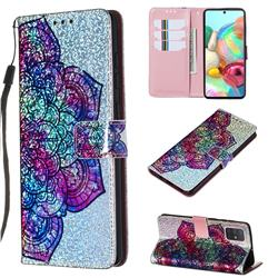Glutinous Flower Sequins Painted Leather Wallet Case for Samsung Galaxy A71 4G