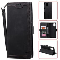 Luxury Retro Stitching Leather Wallet Phone Case for Samsung Galaxy A71 - Black
