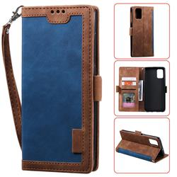 Luxury Retro Stitching Leather Wallet Phone Case for Samsung Galaxy A71 - Dark Blue