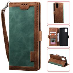 Luxury Retro Stitching Leather Wallet Phone Case for Samsung Galaxy A71 - Dark Green