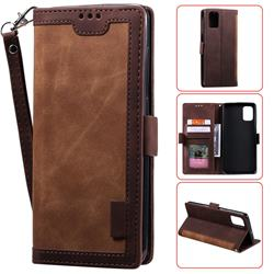Luxury Retro Stitching Leather Wallet Phone Case for Samsung Galaxy A71 - Dark Brown