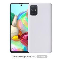 Howmak Slim Liquid Silicone Rubber Shockproof Phone Case Cover for Samsung Galaxy A71 - White